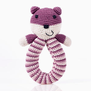 Organic Bear Ring Rattle Soft Purple- Pebble - Zigzag and Zebra