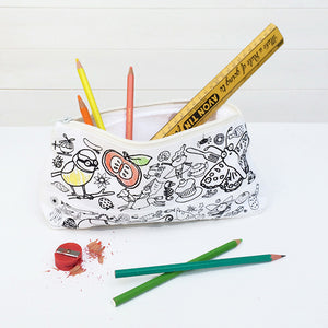 Colour-In Pencil Case With Pens- Eggnogg - Zigzag and Zebra