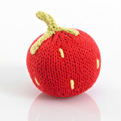 Knitted Strawberry Rattle- Pebble - Zigzag and Zebra