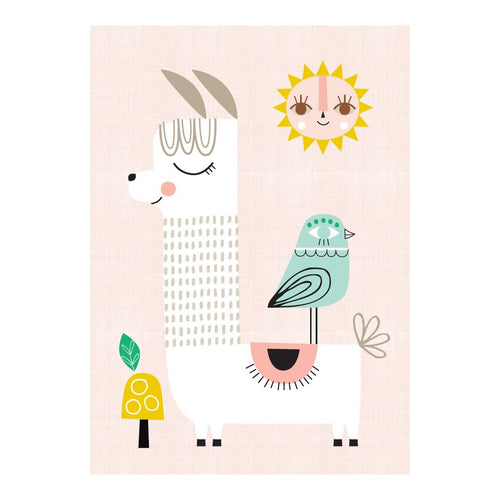 zigzag-and-zebra - Sunshine Llama- Petit Monkey - Zigzag and Zebra - Wall Print