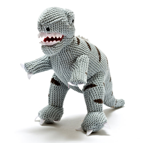 Knitted Cotton Mini T-Rex Rattle Blue- Best Years - Zigzag and Zebra