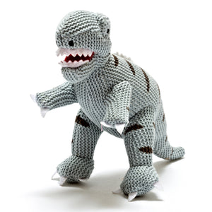zigzag-and-zebra - Knitted Cotton Mini T-Rex Rattle Blue- Best Years - Zigzag and Zebra - Baby