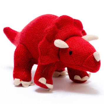 Knitted Mini Triceratops Rattle- Best Years - Zigzag and Zebra