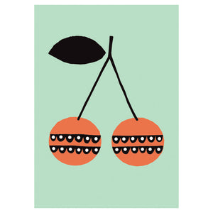 Cherries A3 Poster- Becky Baur - Zigzag and Zebra