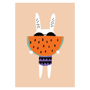 zigzag-and-zebra - Rabbit With Watermelon Poster A3- Becky Baur - Zigzag and Zebra - Wall Print