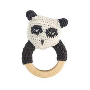 zigzag-and-zebra - Crochet Panda Rattle- Sebra - Zigzag and Zebra - Toy