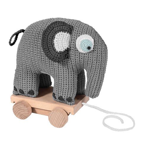 Crochet Pull Along Elephant (Grey)- Sebra - Zigzag and Zebra