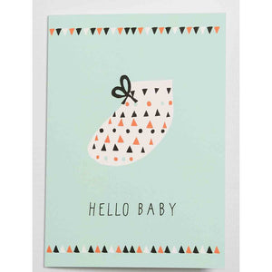 Hello Baby Blue Card- Becky Baur - Zigzag and Zebra