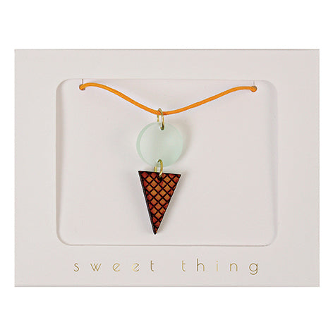 zigzag-and-zebra - Ice Cream Cone Necklace- Meri Meri - Zigzag and Zebra - Kid's Accessory