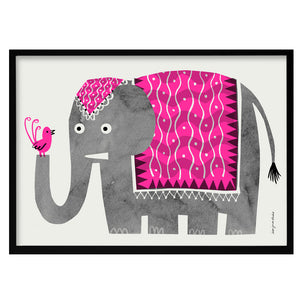 zigzag-and-zebra - Indian Elephant Risograph Print- Lisa Jones - Zigzag and Zebra - Wall Print