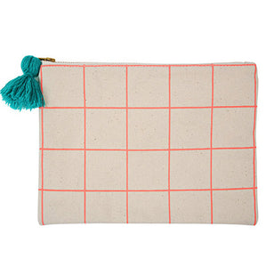 Neon Coral Grid Canvas Pouch- Meri Meri - Zigzag and Zebra