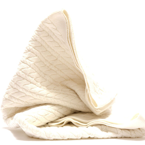 Organic Cotton Cable Knit Baby Blanket- Under The Nile