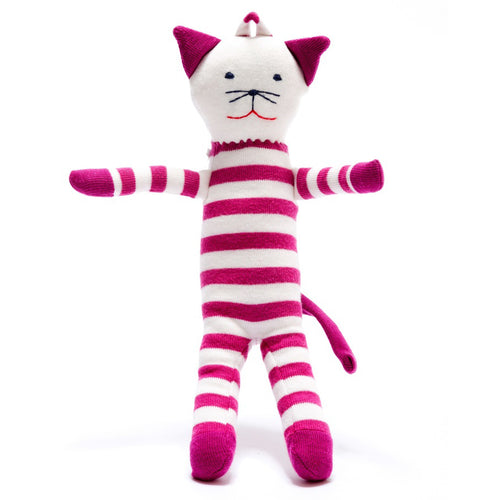 Organic Stripy Pink/White Scrappy Cat- Under The Nile