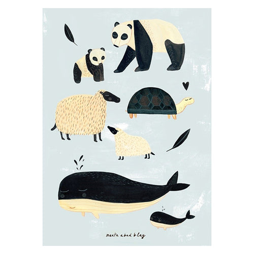 Black and White Animals Poster (Grey)- Petit Monkey