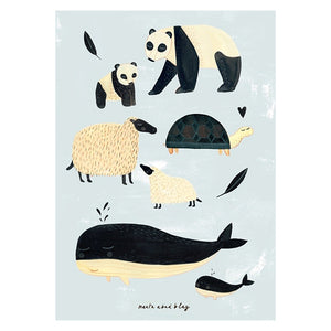 Black and White Animals Poster (Grey)- Petit Monkey - Zigzag and Zebra