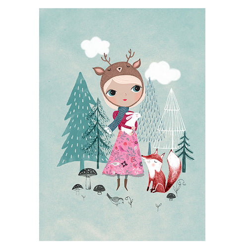 zigzag-and-zebra - Deer Girl Print (Mint)- Petit Monkey - Zigzag and Zebra - Wall Print