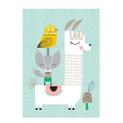 zigzag-and-zebra - Llama and Friends- Petit Monkey - Zigzag and Zebra - Wall Print