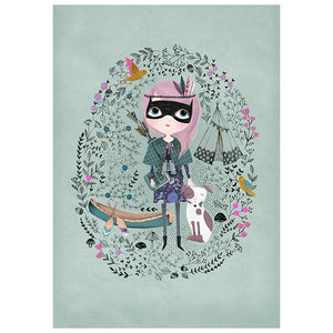 Spy Girl Print (Celadon)- Petit Monkey - Zigzag and Zebra