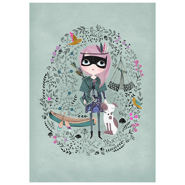 zigzag-and-zebra - Spy Girl Print (Celadon)- Petit Monkey - Zigzag and Zebra - Wall Print