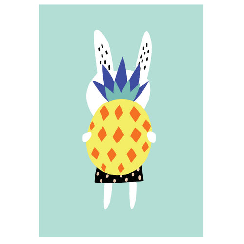 zigzag-and-zebra - Rabbit With Pineapple Poster A3- Becky Baur - Zigzag and Zebra - Wall Print