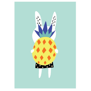 Rabbit With Pineapple Poster A3- Becky Baur