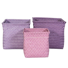 Set of 3 Woven Storage Baskets - Sebra - Zigzag and Zebra