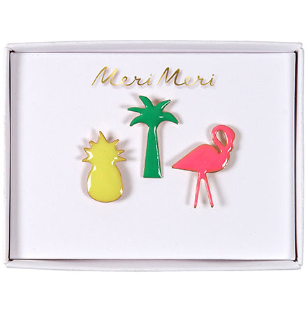 zigzag-and-zebra - Tropical Enamel Pins- Meri Meri - Zigzag and Zebra - Kid's Accessory