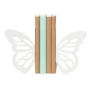 White Butterfly Book Ends - Zigzag and Zebra
