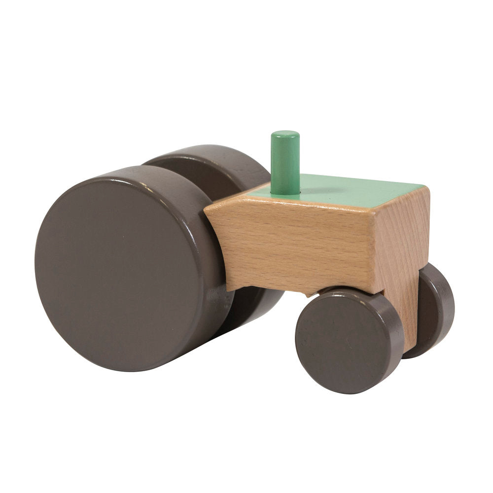Wooden Tractor (Green)- Sebra - Zigzag and Zebra