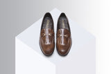 Two-tone slip-ons with buckle Brown