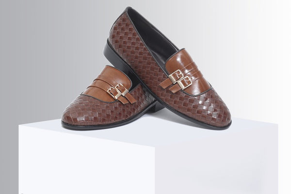 Brown woven double buckle slip-ons - A Tailor's Tale