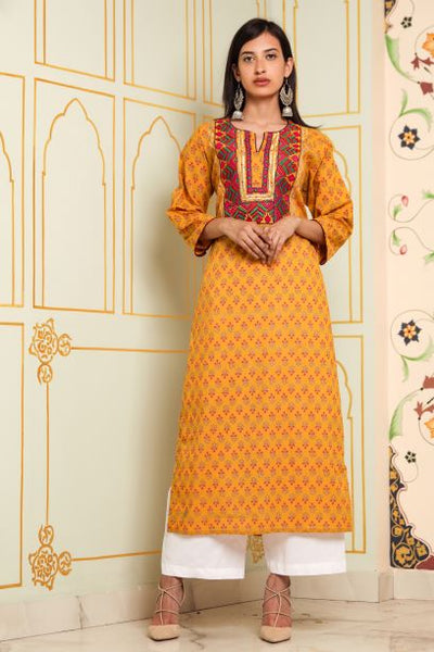 Patchwork Yellow Tunic ₹1,800 - A Tailor's Tale