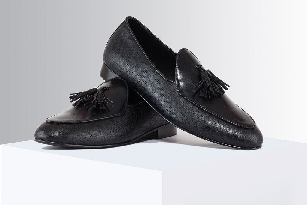 9a937f6fe31 Black Printed Tassel Loafers – A Tailor s Tale