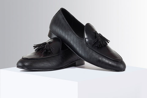 Black Printed Tassel Loafers - A Tailor's Tale