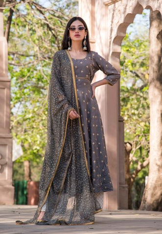 Grey Booti Anarkali Set - A Tailor's Tale