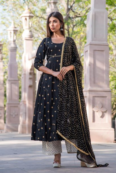 Black Booti Anarkali Set - A Tailor's Tale
