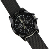Focus Tactical Analog Fabric Band Wrist Watch - Black
