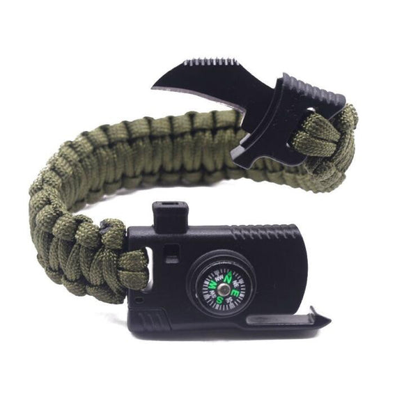 Outdoor 6-in1 Paracord Survival Bracelet from Focus Tactical - Army Green