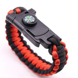 Outdoor 6-in1 Paracord Survival Bracelet from Focus Tactical - Black & Red