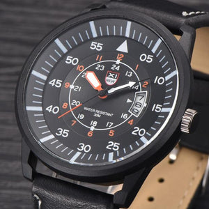 Mens Leather Water Resistant Wrist Watch - Black