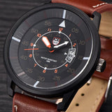 Mens Leather Water Resistant Wrist Watch - Coffee