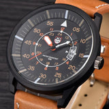 Mens Leather Water Resistant Wrist Watch - Brown