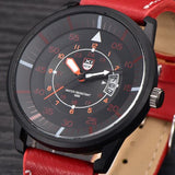 Mens Leather Water Resistant Wrist Watch - Red