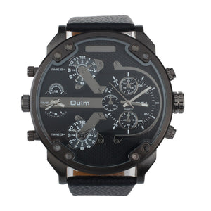 Oulm Military Style Multi Time Zone Quartz Large Dial Wrist Watch