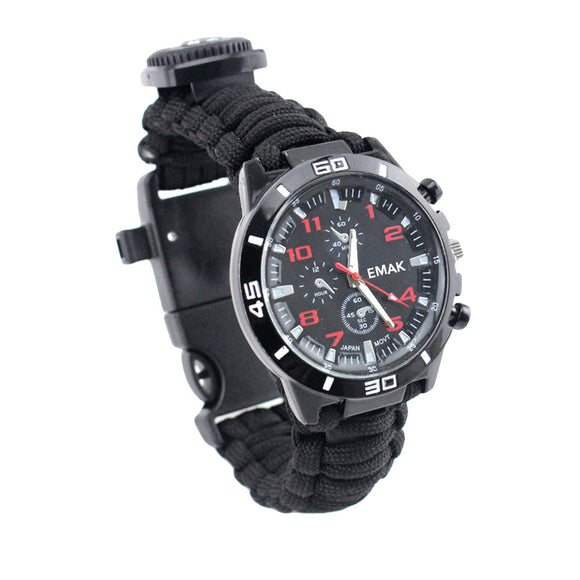 16-in-1 Multifunctional Paracord Survival Watch - Black