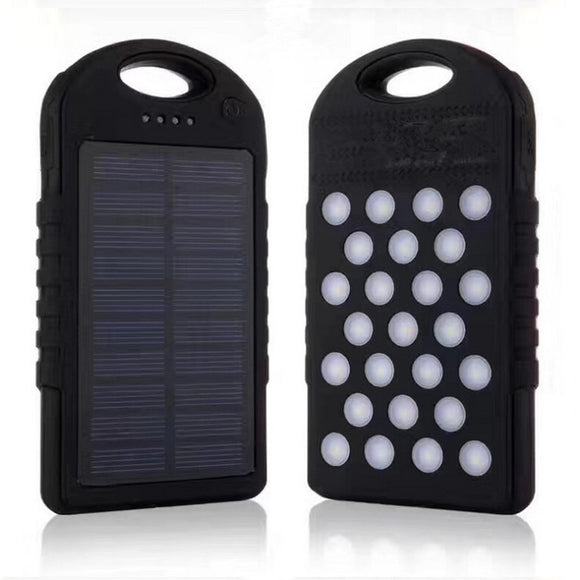 Portable 10,000 mAh Solar Power Bank from Focus Tactical - Black