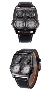 Leather Dual Mov't Compass & Thermometer Wristwatch - White
