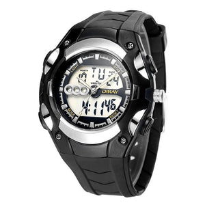 Mens 30m Waterproof Silicone Band LED Watch - Black