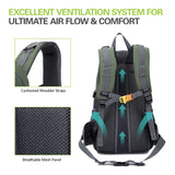 Unisex 40L Water-Resistant Outdoors Backpack - Ventilation
