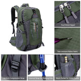 Unisex 40L Water-Resistant Outdoors Backpack - Features